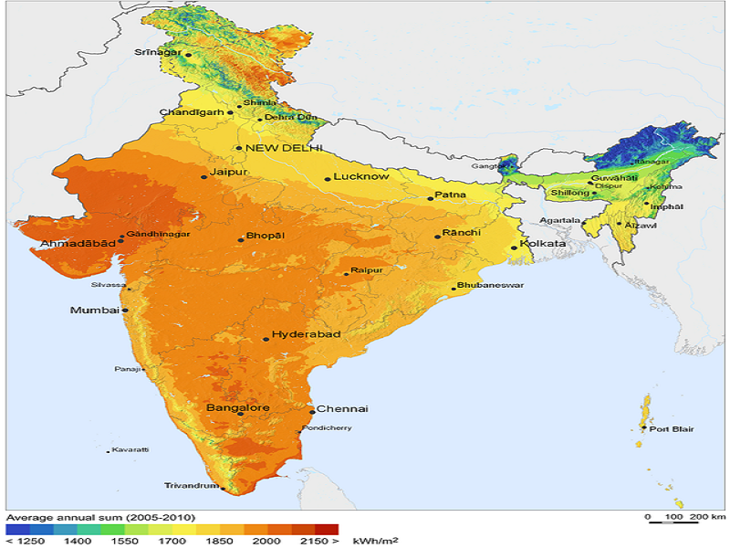 Solar Resource Map of India - http://solargis.info/doc/71